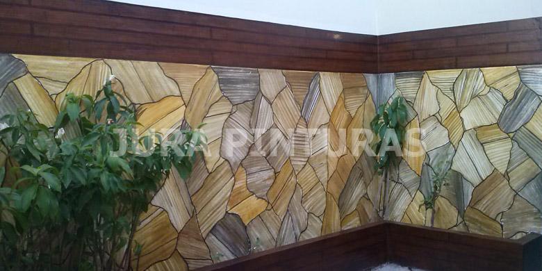 Imitação de pedra e madeira